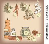 set of spices and herbs | Shutterstock . vector #142456327