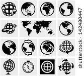 Globe Earth Vector Icons Set O...