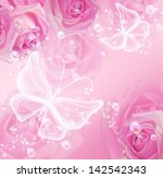 pink roses  stars and... | Shutterstock . vector #142542343