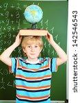 portrait of a cute schoolboy... | Shutterstock . vector #142546543
