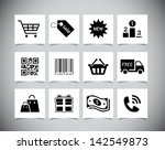 set of simple black shopping... | Shutterstock .eps vector #142549873
