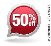 red fifty percent off speech... | Shutterstock .eps vector #142575397