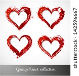 set of grunge paper cut hearts. ... | Shutterstock .eps vector #142596667