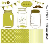 glass jars  frames and cute... | Shutterstock .eps vector #142616743