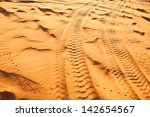 4wd Tyre Tracks In The Desert.