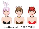 Vector image of party girls dressed as bunny, cat and devil.