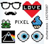 pixel art collection. vector... | Shutterstock .eps vector #142705087