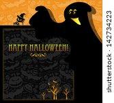 halloween card or background. | Shutterstock . vector #142734223