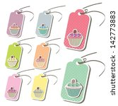 cupcake set of tags vector... | Shutterstock .eps vector #142773883