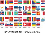 set of square icons with flags... | Shutterstock .eps vector #142785787