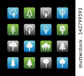 eco symbols. tree icon set. | Shutterstock .eps vector #142799593