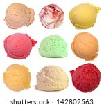 scoops of ice cream isolated on ... | Shutterstock . vector #142802563