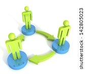3d man group arrows connection... | Shutterstock . vector #142805023