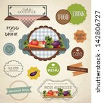 vector label set for restaurant ... | Shutterstock .eps vector #142806727