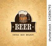 beer label on old paper texture.... | Shutterstock .eps vector #142806793