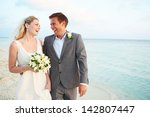 bride and groom getting married ... | Shutterstock . vector #142807447
