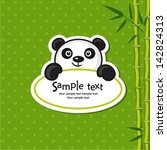 illustration of cute panda with ... | Shutterstock .eps vector #142824313