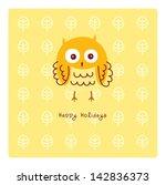 happy owl holidays | Shutterstock .eps vector #142836373
