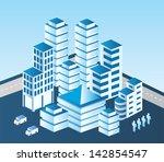 isometric vector city in blue... | Shutterstock .eps vector #142854547