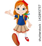 little girl come to school | Shutterstock .eps vector #142893757