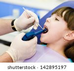 dentist using dental filling... | Shutterstock . vector #142895197