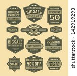 vector vintage sale label set...   Shutterstock .eps vector #142919293