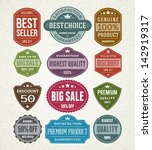 vector vintage sale label set... | Shutterstock .eps vector #142919317