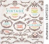 vintage vector set  hand drawn... | Shutterstock .eps vector #142972213