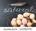 fresh organic eggs in metallic... | Shutterstock . vector #142985797