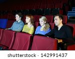four young people watch movie... | Shutterstock . vector #142991437
