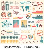 doodle set with info graphic... | Shutterstock .eps vector #143066203