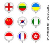 set of map flag icon  vector | Shutterstock .eps vector #143106367