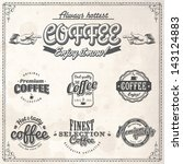 set of vintage retro coffee... | Shutterstock .eps vector #143124883