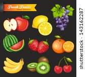 collection of vector fruits | Shutterstock .eps vector #143162287