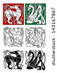 abstract animals in celtic... | Shutterstock .eps vector #143167867
