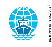 ship   globe sign. vector logo...