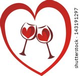 Wine Heart Love Glasses Vector...