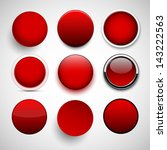 set of blank red round buttons... | Shutterstock .eps vector #143222563