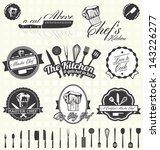 vector set  retro master chef... | Shutterstock .eps vector #143226277