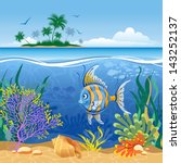 tropical island and underwater... | Shutterstock .eps vector #143252137
