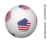 flags on soccer ball of united... | Shutterstock . vector #143256223