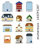3d building icon set | Shutterstock .eps vector #143291287