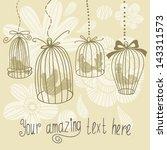 vintage illustration with birds ... | Shutterstock .eps vector #143311573