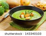 broccoli cream soup and... | Shutterstock . vector #143340103