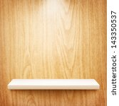 realistic white shelf on wooden ... | Shutterstock .eps vector #143350537