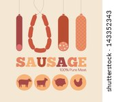 Retro poster. Various sausages and Icons beef, chicken, pork and lamb.  - stock vector