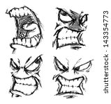 set of angry face doodle | Shutterstock .eps vector #143354773