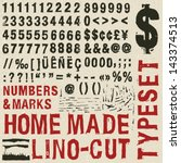 home made woodcut typeset | Shutterstock .eps vector #143374513