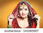 beautiful young indian woman in ... | Shutterstock . vector #143385007