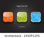 vector 3d square app icons set